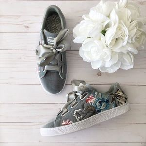 Puma Grey velvet embroidered sneaker w/ ribbon tie